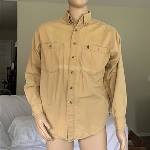 Browning tan button down shirt sz M